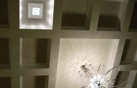 Coffered Ceiling with Chandelier Charlotte NC